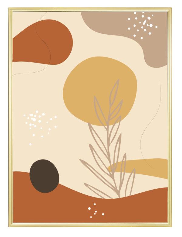 Lámina decorativa Formas Orgánicas Ocre con marco dorado