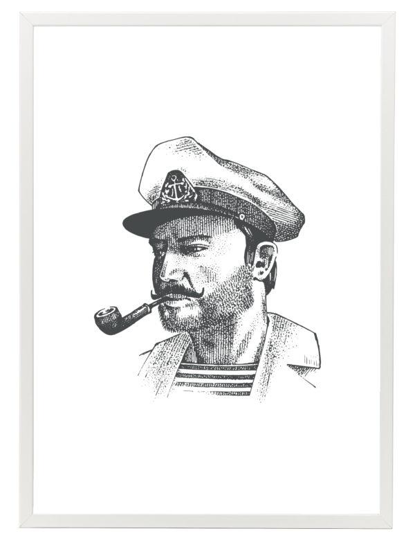 Lámina decorativa GGrabado Capitán con marco blanco