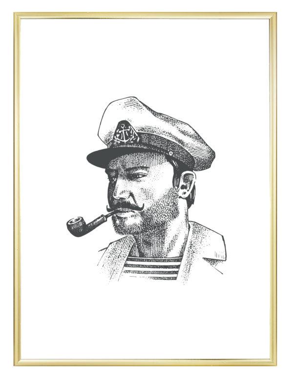 Lámina decorativa GGrabado Capitán con marco dorado