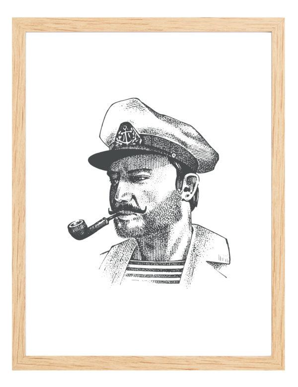 Lámina decorativa GGrabado Capitán con marco de madera