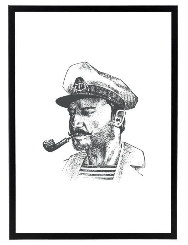 Lámina decorativa Grabado Capitán con marco negro