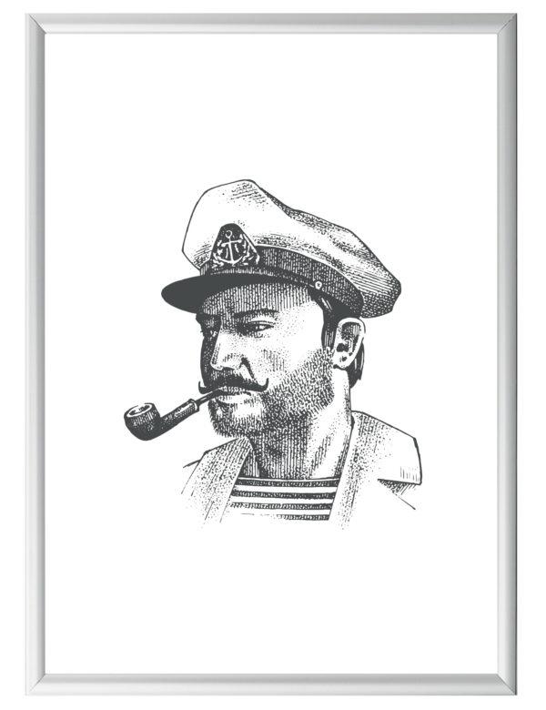 Lámina decorativa GGrabado Capitán con marco plateado