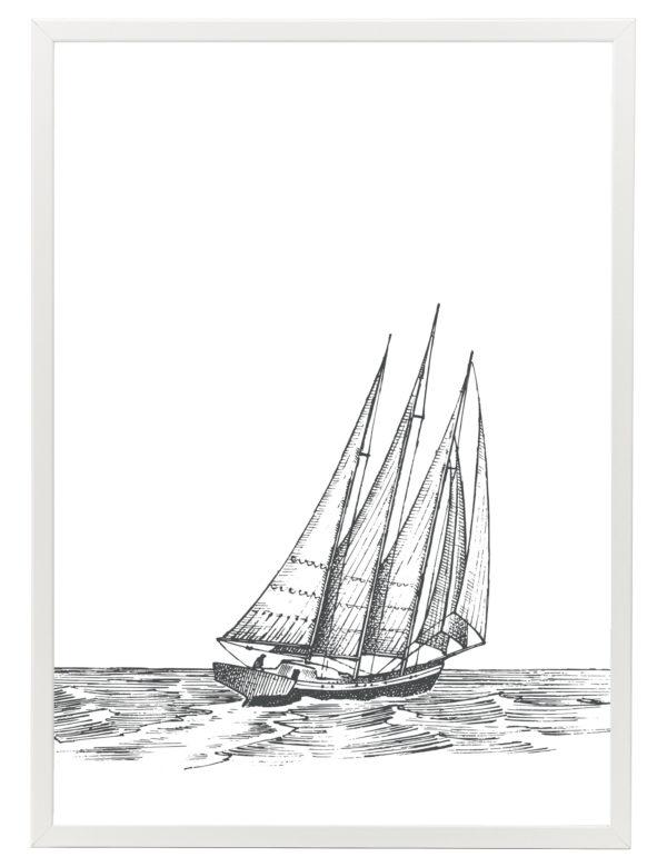 Lámina decorativa Grabado Velero con marco blanco