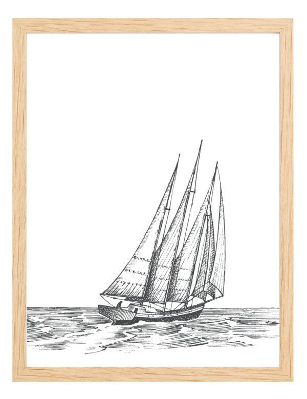 Lámina decorativa Grabado Velero con marco de madera