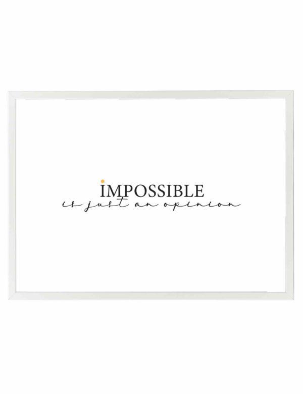 Lámina decorativa horizontal Impossible con marco blanco