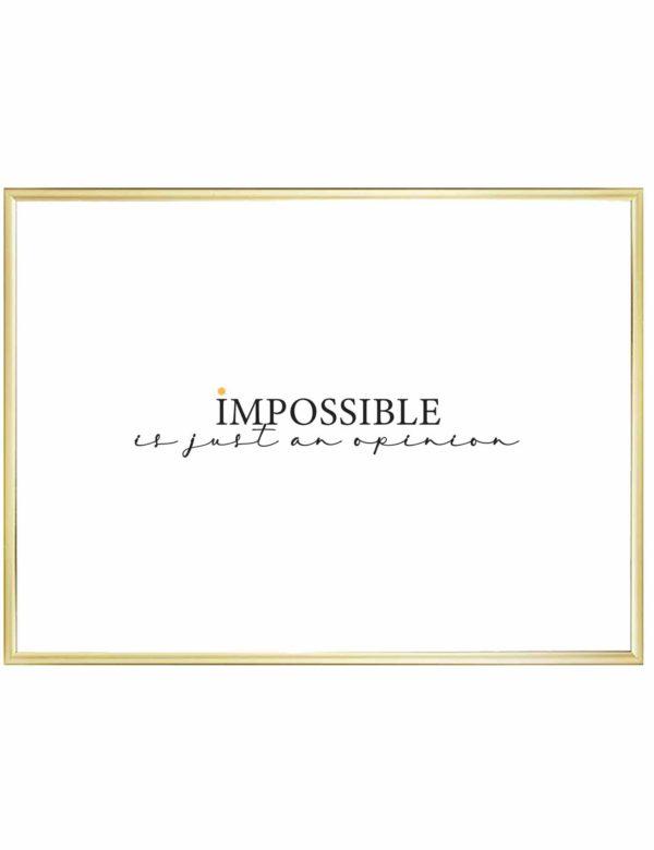 Lámina decorativa horizontal Impossible con marco dorado