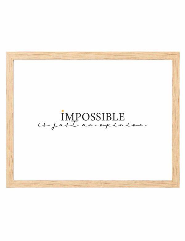 Lámina decorativa horizontal Impossible con marco de madera