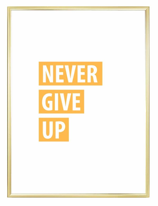 Lámina decorativa Never Give Up con marco dorado