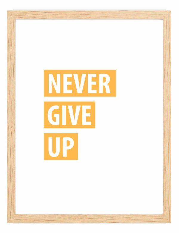 Lámina decorativa Never Give Up con marco de madera
