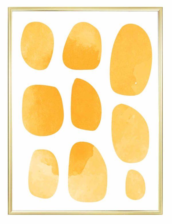Lámina decorativa Pebbles con marco dorado