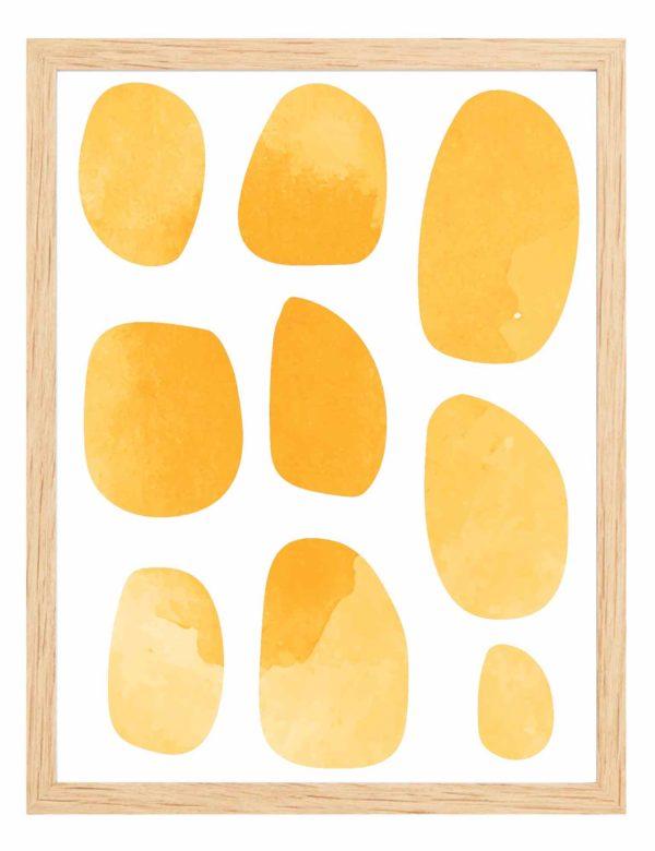 Lámina decorativa Pebbles con marco de madera