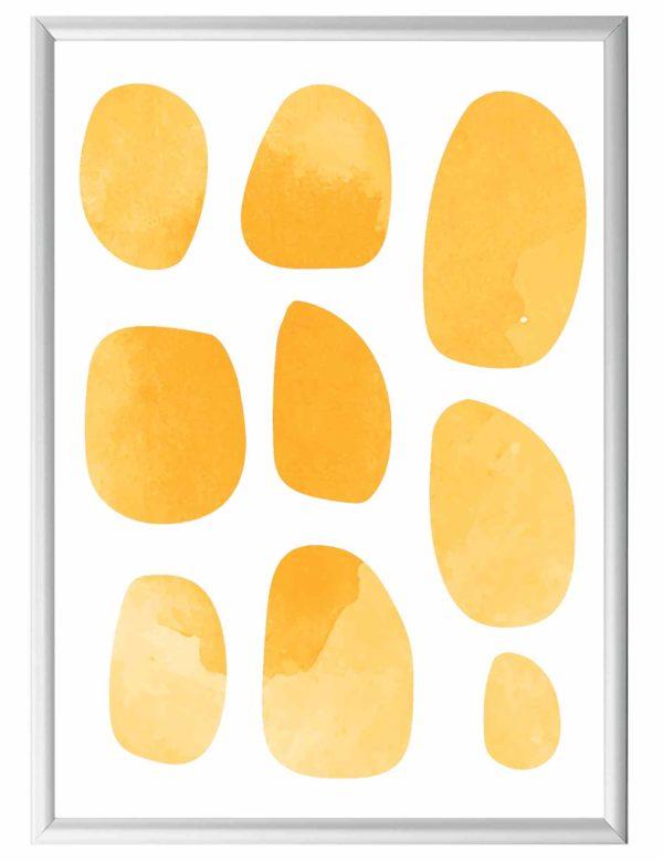 Lámina decorativa Pebbles con marco plateado