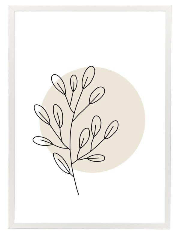 Lámina decorativa Planta Minimalista 1 con marco blanco