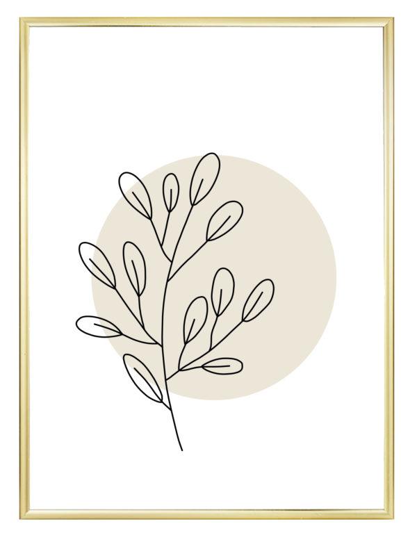 Lámina decorativa Planta Minimalista 1 con marco dorado