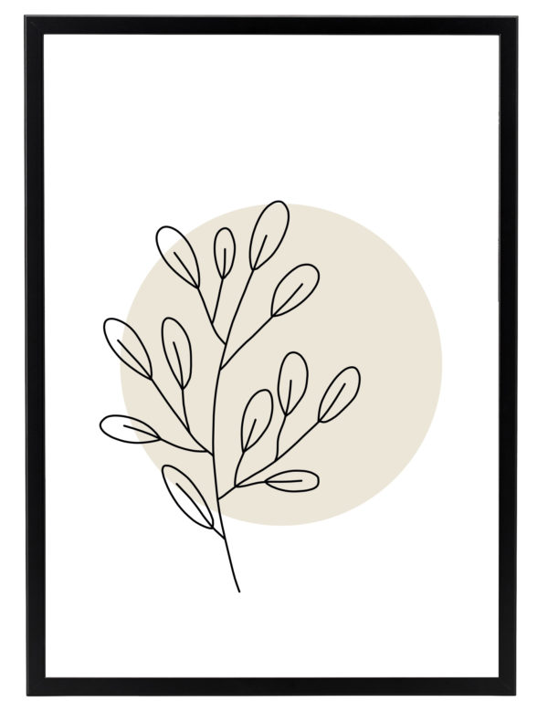 Lámina decorativa Planta Minimalista 1 con marco negro