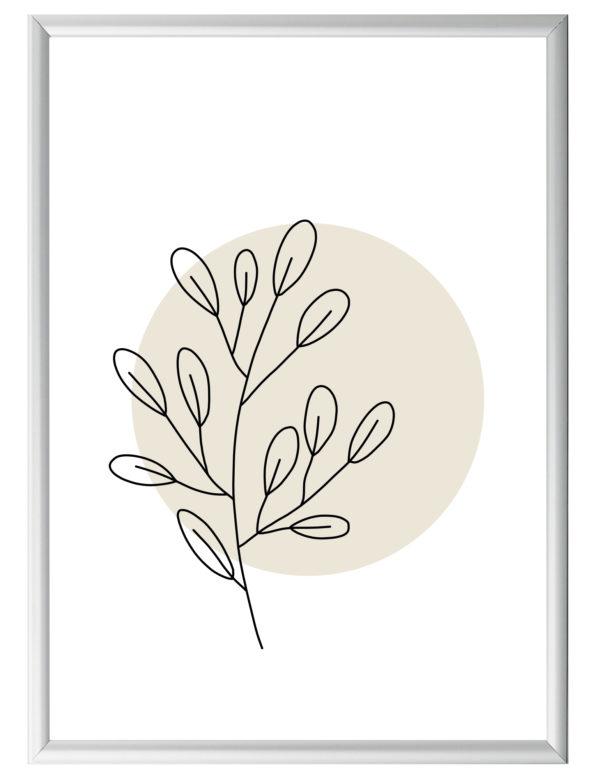 Lámina decorativa Planta Minimalista 1 con marco plateado