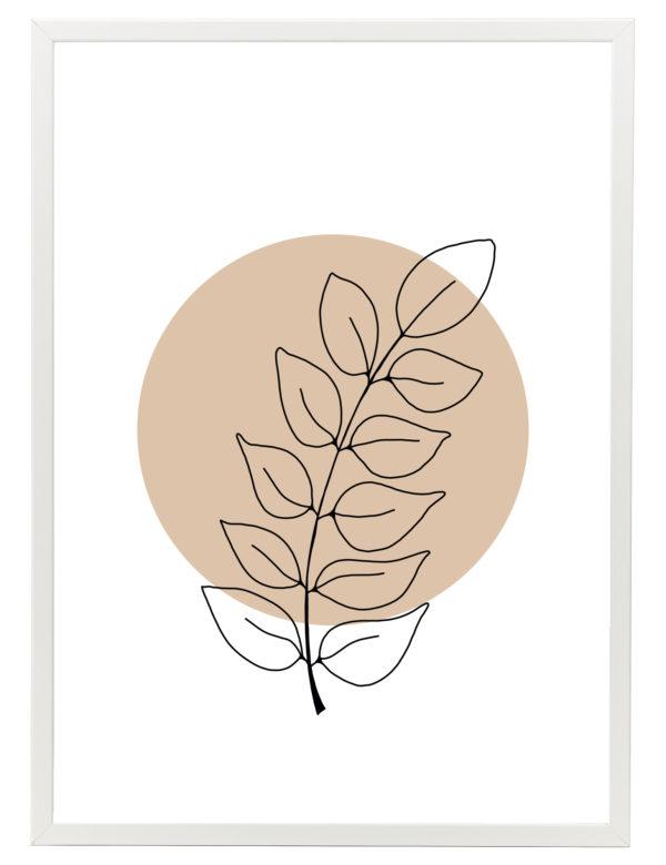 Lámina decorativa Planta Minimalista 2 con marco blanco