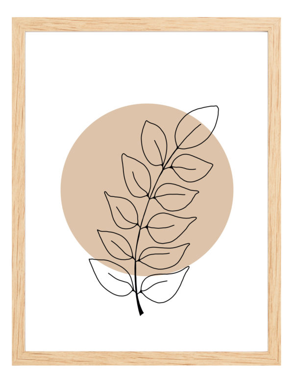 Lámina decorativa Planta Minimalista 2 con marco de madera