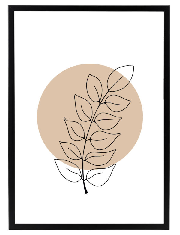 Lámina decorativa Planta Minimalista 2 con marco negro