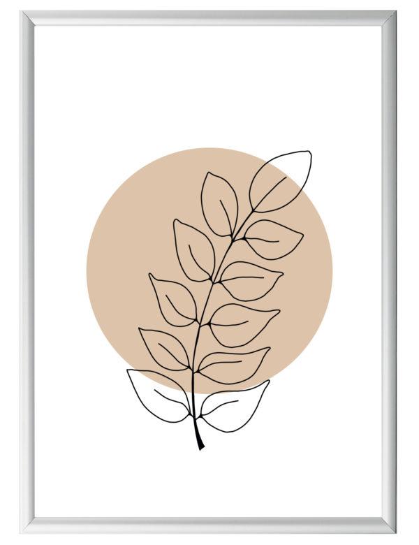 Lámina decorativa Planta Minimalista 2 con marco plateado