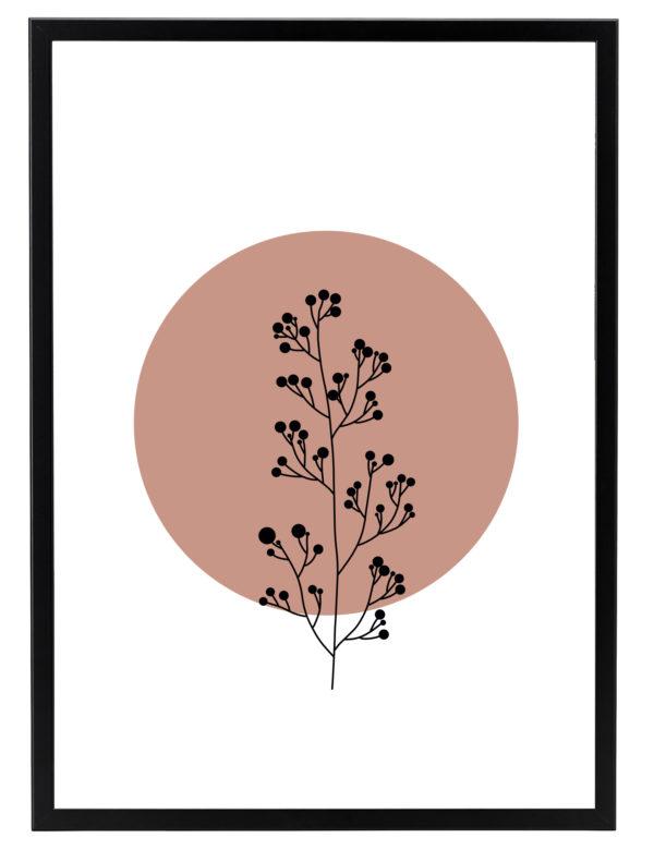 Lámina decorativa Planta Minimalista 3 con marco negro
