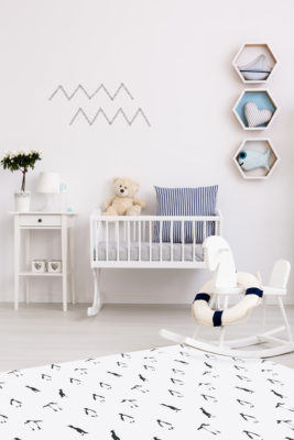 Alfombra vinílica Penguins en habitación infantil