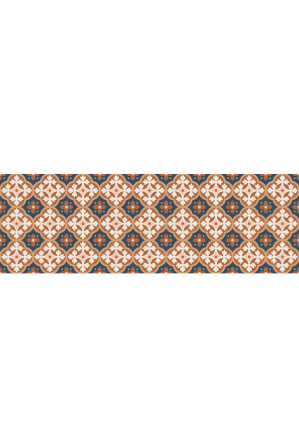 Alfombra vinílica Baldosas Hidráulicas Bronce talla M 180x60 cm